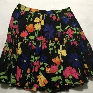 Old Navy Black Floral Knee length Large Skirt